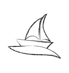 blurred silhouette boat in the ocean icon vector image vector image