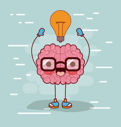 brain cartoon with glasses and light bulb on top vector image