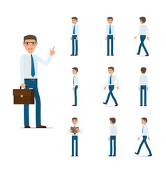 businessman character collection moving steps vector image vector image