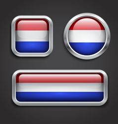 Holland flag glass buttons vector image vector image