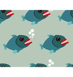 Piranha seamless pattern Toothy fish background vector image vector image