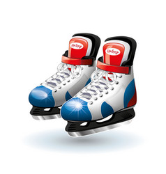 realistic ice hockey skates isolated on white vector image vector image