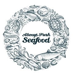 seafood restaurant menu or cafe design template vector image vector image