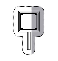 sticker silhouette square shape traffic sign with vector image vector image