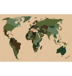 World map - forest green camouflage pattern vector