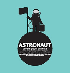 Astronaut Standing With Flag On The Planet vector image