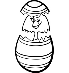 chick in easter egg cartoon for coloring vector image vector image