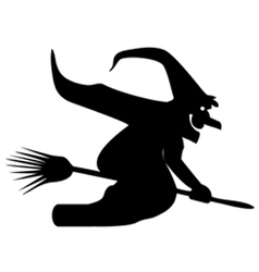 Silhouette of a witch on a broomstick vector image