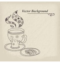 Teacup Vintage Background vector image