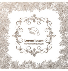 vintage christmas coniferous frame in sepia vector image vector image