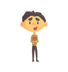 Boy in green sweater holding books primary school vector