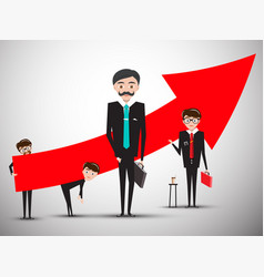businessmen with big red arrow businessman vector image