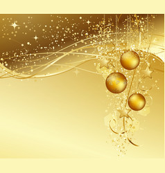 Christmas background with gold baubles vector image vector image