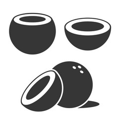 coconut icons set on white background vector image
