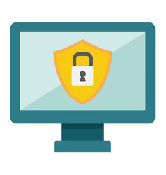 computer security flat icon protection padlock vector image vector image