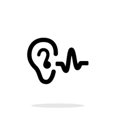 Ear hearing sound icon on white background vector image vector image