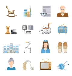 Elderly Care In Nursing Home Icons vector image vector image