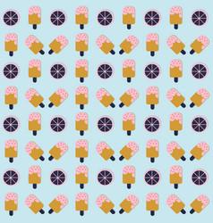 Ice cream seamless pattern with lemon on blue vector