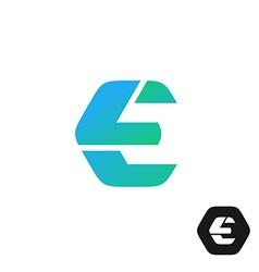 Letter E color tech industry style logo concept vector image
