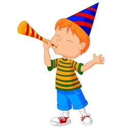 Little boy cartoon with trumpet vector image vector image