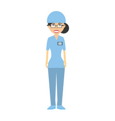 nurse with suit surgery hat and id card vector image