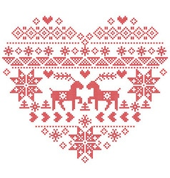 Scandinavian Nordic winter stitch knitting heart vector image