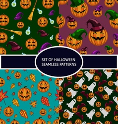 Set of seamless patterns with pumpkin halloween vector image vector image