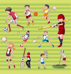 sticker set with people playing different types vector image