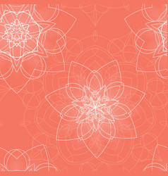 pink seamless pattern with floral mandala vector image