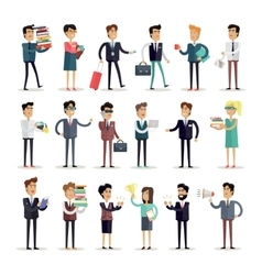 Set of Business Characters in Flat Design vector image vector image