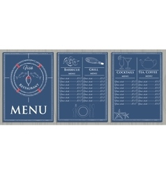 Template fish menu on wood background vector