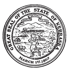 the great seal of the state of nebraska 1867 vector image