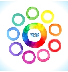 Watercolor rainbow rings vector image vector image