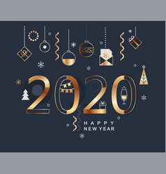 2020 new year minimal banner with gold elements vector image