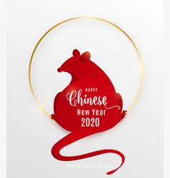 2020 rat happy chinese new year red mouse vector image