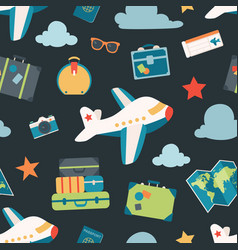 air travel navy seamless pattern background vector image