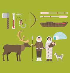 alaska state symbols flat style america vector image