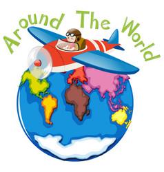 Around world airplane vector