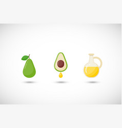 Avocado oil flat icons set vector