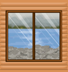 Background interior wooden cabin with blur river vector