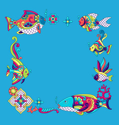 background with fishes mexican ceramic cute naive vector image