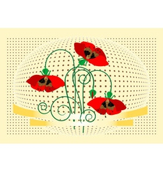 Banner with flover poppy vector