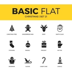 Basic set of christmas icons vector image