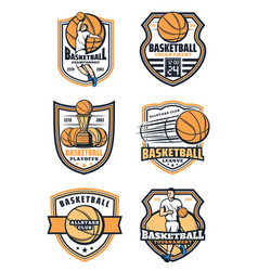 Basketball sport game icons vector