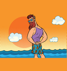 Bearded hipster is resting on the sea vector