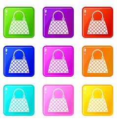 beautiful bag icons 9 set vector image