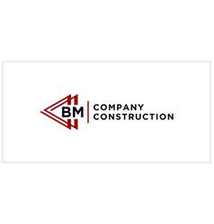 Bm triangle connect logo design vector