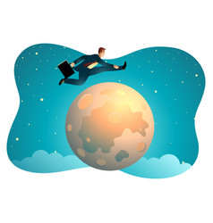 Businessman jumping over moon vector