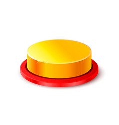Button gold 3d object on the white background vector