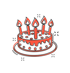 cartoon cake with candle icon in comic style pie vector image